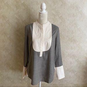 ❤️J.Crew Gray White Mixed-Media Wool Silk Blouse 6